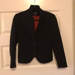 Black classic blazer with red lining